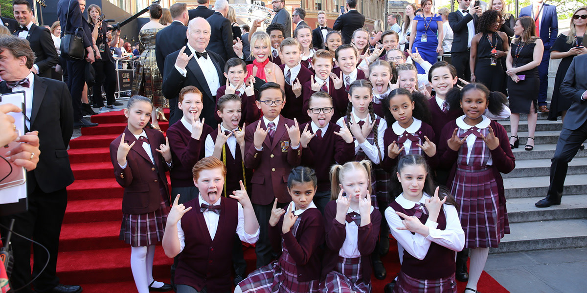 The cast of School Of Rock - The Musical and Julian Fellowes on the Olivier Awards 2017 with Mastercard red carpet (Photo: Darren Bell)