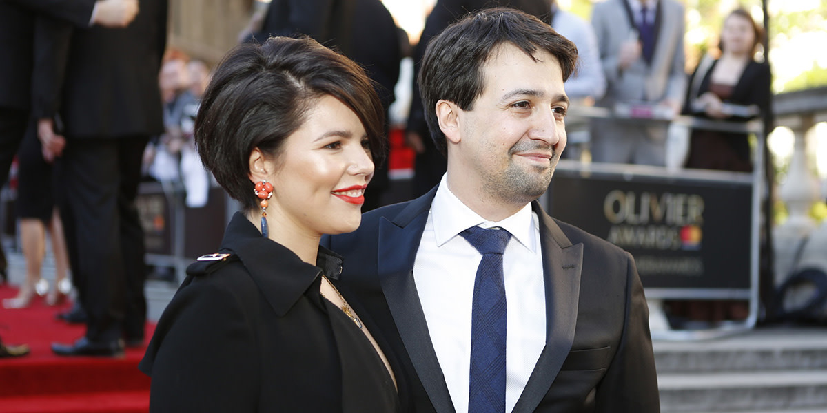 Vanessa Nadal and Lin-Manuel Miranda on the Olivier Awards 2017 with Mastercard red carpet (Photo: Pamela Raith)