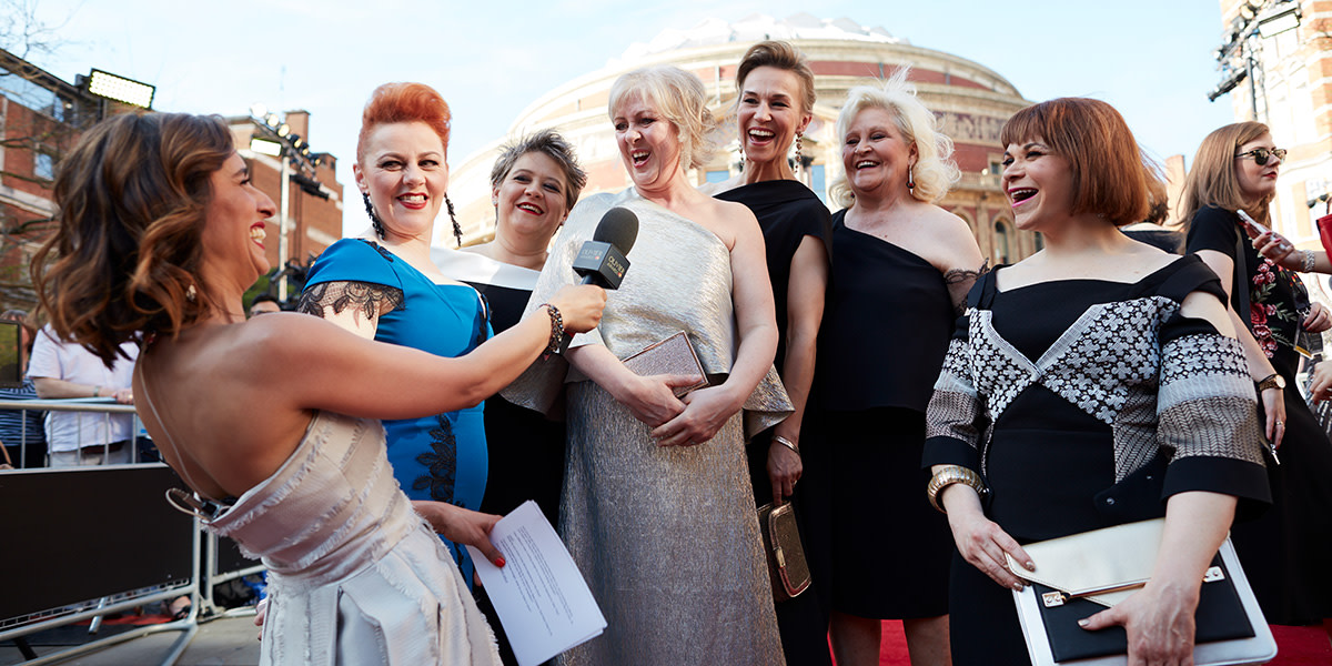 The cast of The Girls on the Olivier Awards 2017 with Mastercard red carpet (Photo: David Levene)