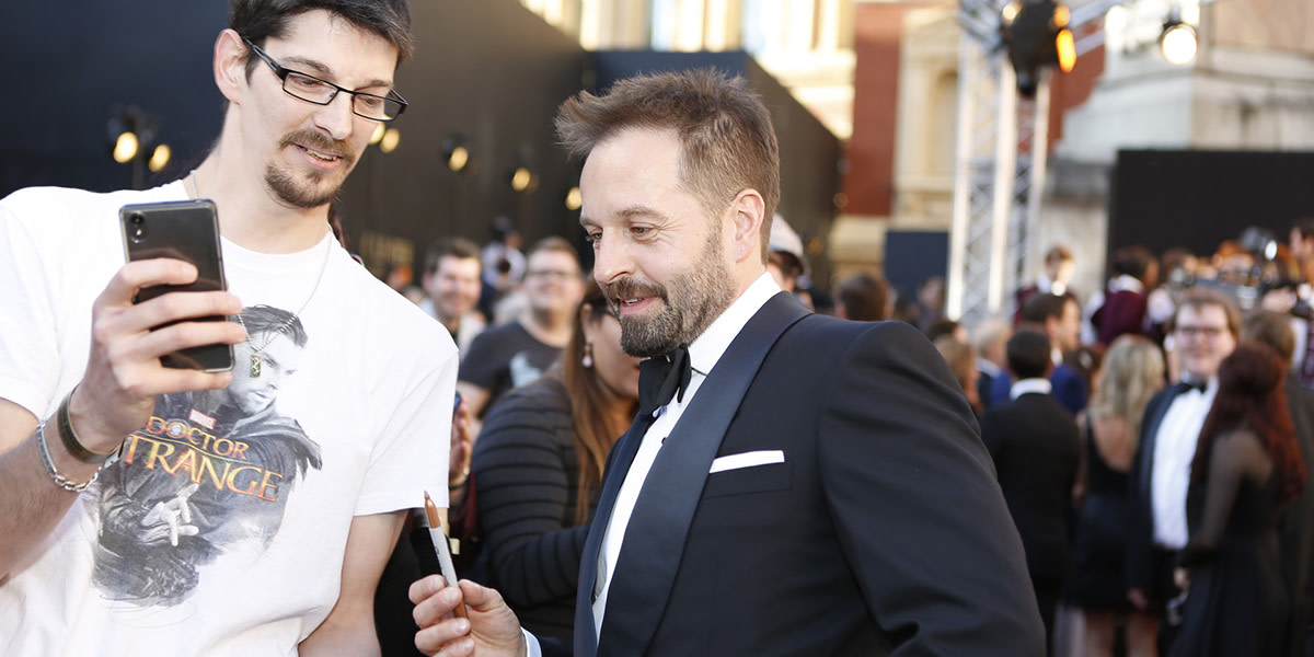 Alfie Boe on the Olivier Awards 2017 with Mastercard red carpet (Photo: Pamela Raith)