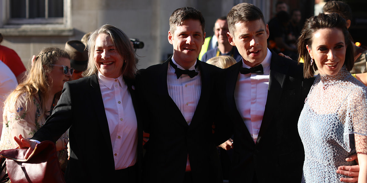 Cherry Jones, Michael Esper, Brian J Smith (wearing Asprey) and Kate O'Flynn on the Olivier Awards 2017 with Mastercard red carpet (Photo: David Levene)