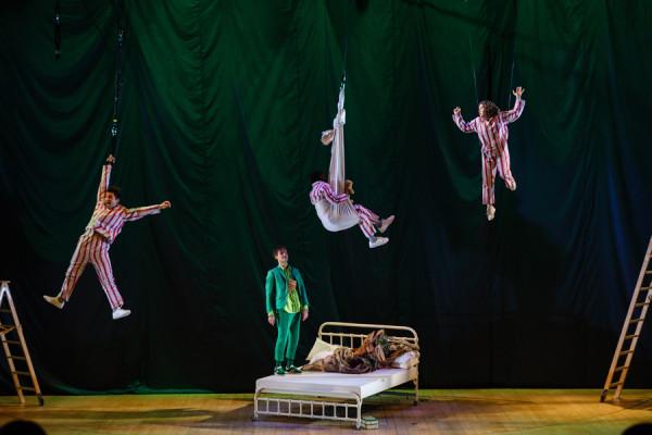 John (Marc Antolin), Michael (John Pfumojena), Wendy (Madeleine Worrall) and Peter Pan (Paul Hilton) in Peter Pan at the National Theatre in 2016 (Photo: Steve Tan)