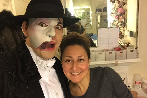Phantom Of The Opera Actors: Ben Forster with his make-up artist Tanya