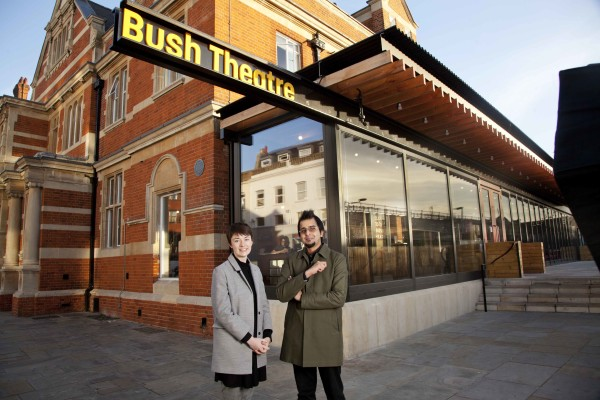 Lauren Clancy and Madani Younis outside the Bush Theatre (Photo: Bronwen Sharp)
