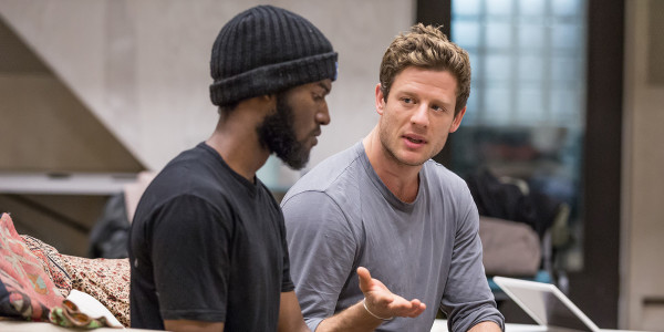Malachi Kirby (Alioune) and James Norton (Zack) in rehearsals for Belleville at the Donmar Warehouse (Photo: Marc Brenner)