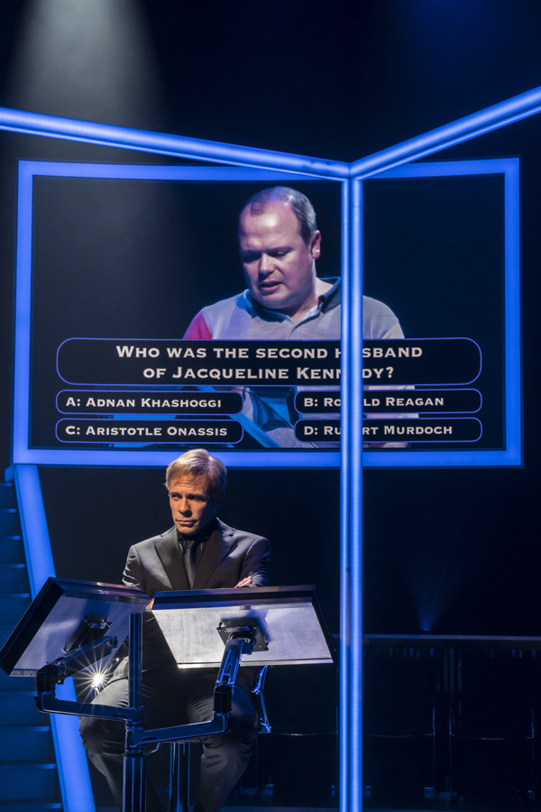 Gavin Spokes (as Charles Ingram) and Keir Charles (Chris Tarrant) in Quiz at Chichester Festival Theatre (Photo: Johan Persson)