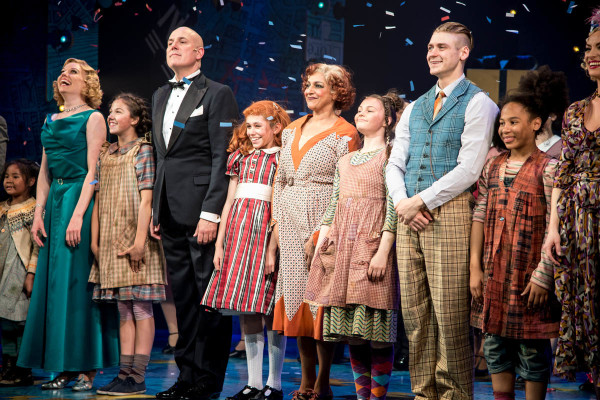 Meera Syal (Miss Hannigan) and the West End cast of Annie at the Piccadilly Theatre