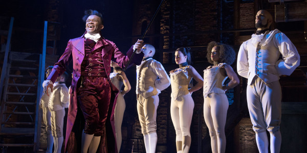 Jason Pennycooke (Thomas Jefferson) and the West End cast of Hamilton (Photo: Matthew Murphy)