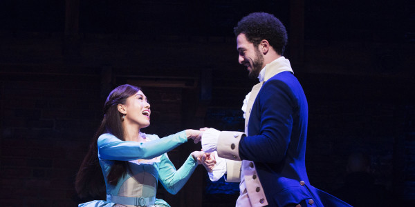 Rachelle Ann Go (Eliza Hamilton) and Jamael Westman (Alexander Hamilton) in Hamilton (Photo: Matthew Murphy)
