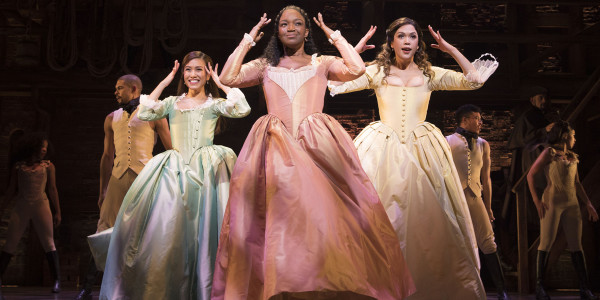 Rachelle Ann Go (Eliza Hamilton), Rachel John (Angelica) and Christine Allado (Peggy) in Hamilton (Photo: Matthew Murphy)