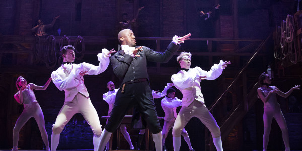 Giles Terera (Aaron Burr) with the West End cast of Hamilton