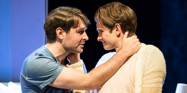 James McArdle (Louis) and Andrew Garfield (Prior) in Angels In America. Photo by Helen Maybanks.