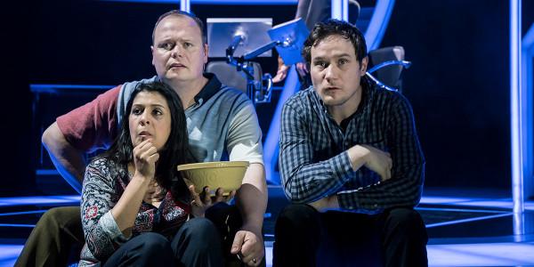 Stephanie Street, Gavin Spokes and Henry Pettigrew in Quiz (Photo: Johan Persson)