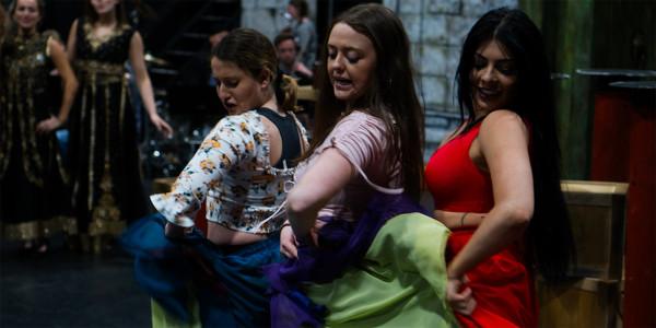 Shoreina Pereira, Lucy Aiston and Lucy Kay in TriOperas rehearsals (Photo: James Martin)