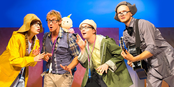 Rebecca Newman (Girl), Thos Wainwright (Dad), Joey Hickman (Boy), Ben Hills (Dog & Musician) in We're Going On A Bear Hunt (Photo: Lesley Cook)