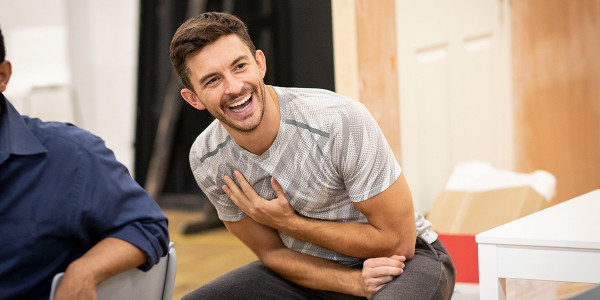 Jonathan Bailey in Company rehearsals (Photo: Helen Maybanks)