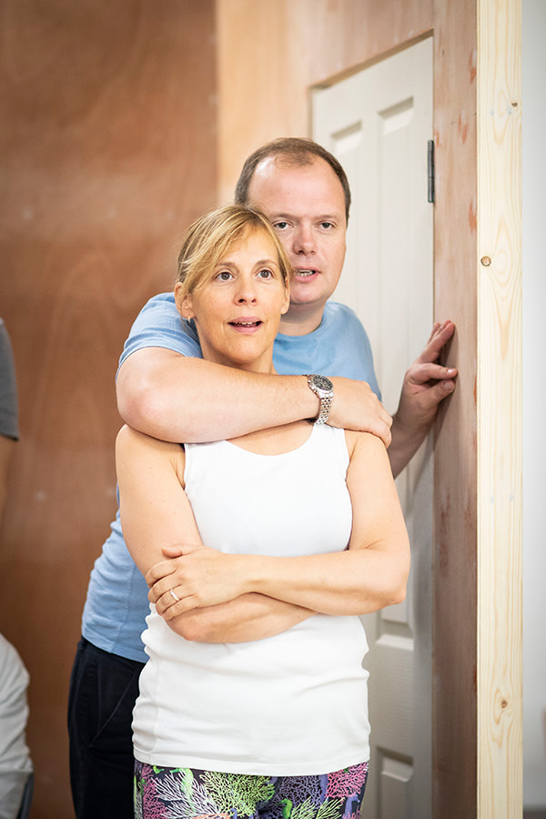 Mel Giedroyc and Gavin Spokes in Company rehearsals (Photo: Helen Maybanks)