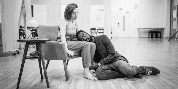 Paapa Essiedu and Kate O'Flynn in rehearsal for Pinter One (Photo: Marc Brenner)