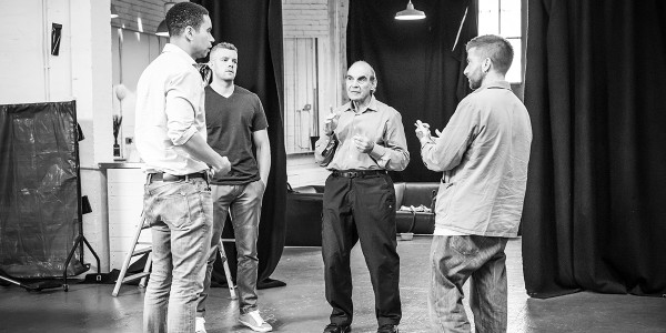 John Macmillan, Russell Tovey, David Suchet and Jamie Lloyd in rehearsal for Pinter Two (Photo: Marc Brenner)