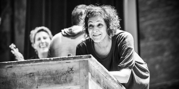 Meera Syal in rehearsals for Pinter Three