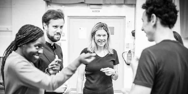 The cast in Pinter Four rehearsals (Photo: Marc Brenner)