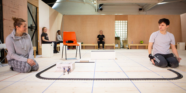 Julie Hale and Joshua Jenkins in The Curious Incident Of Dog In The Night-Time rehearsals (Photo: Ellie Kurttz)