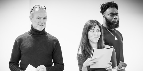 Gary Kemp, Eleanor Matsuura and Abraham Popoola in rehearsal for Pinter Six (Photo: Marc Brenner)