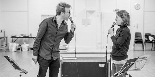 John Heffernan and Gemma Whelan in rehearsals for Pinter Seven (Photo: Marc Brenner)