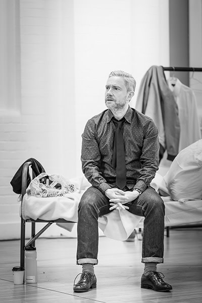 Martin Freeman in rehearsals for Pinter Seven (Photo: Marc Brenner)