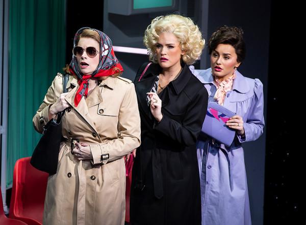 Caroline Sheen (Violet Newstead), Natalie McQueen (Doralee Rhodes) and Amber Davies (Judy Bernly) in 9 To 5 The Musical (Photo: Pamela Raith)