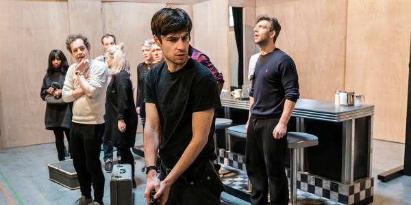 Dyfan Dwyfor and the cast in The Twilight Zone rehearsals (Photo: Johan Persson)