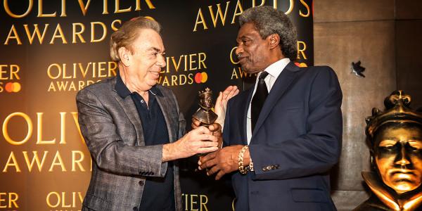 Andrew Lloyd Webber and Linford Hudson at the Olivier Awards 2019 with Mastercard nominees celebration (Photo: Pamela Raith)
