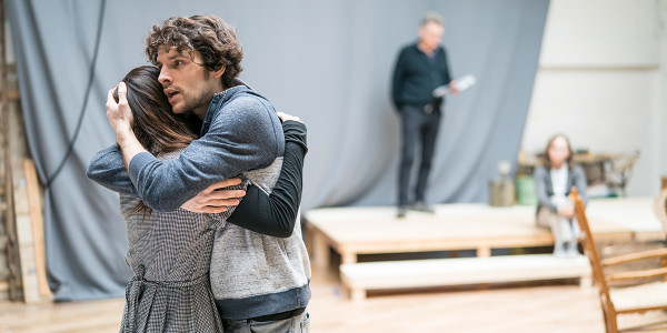 Colin Morgan and Jenna Coleman in rehearsal for All My Sons at The Old Vic (Photo: Johan Persson)