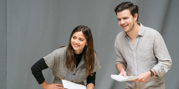 Jenna Coleman and Oliver Johnstone in rehearsal for All My Sons at The Old Vic (Photo: Johan Persson)