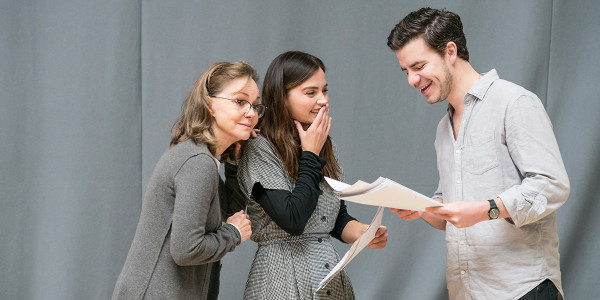 Sally Field, Jenna Coleman and Oliver Johnstone in rehearsal for All My Sons at The Old Vic (Photo: Johan Persson)