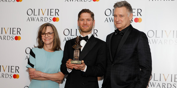 Lucy Eaton Interview: Kyle Soller with his award for Best Actor at the Olivier Awards 2019 for his role in The Inheritance. Presenters: Bill Pullman and Sally Field.