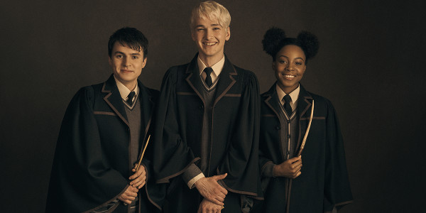 l-r Dominic Short (Albus Potter), Jonathan Case (Scorpius Malfoy) and Rayxia Ojo (Rose Granger-Weasley)