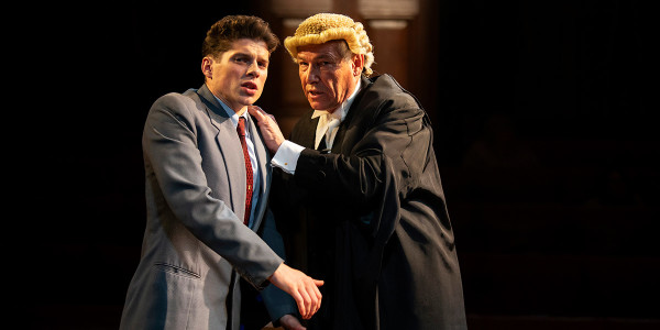 Lewis Cope and Simon Dutton in Witness For The Prosecution (Photo: Ellie Kurttz)