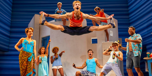 Danny Nattrass as Pepper (front centre) with the cast of MAMMA MIA_ Credit Brinkhoff & Mögenburg