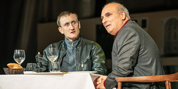 Phantom Of The Opera Actors: Tom Brooke as Alexander Litvinenko & Peter Polycarpou as Boris Bereszovsky in A Very Expensive Poison. Photo by Marc Brenner