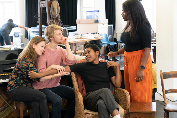(l-r) Katie Brayben, Colin Bates, Gloria Obianyo and Rachel John in rehearsals for The Girl From the North Country. Photo by Johan Persson