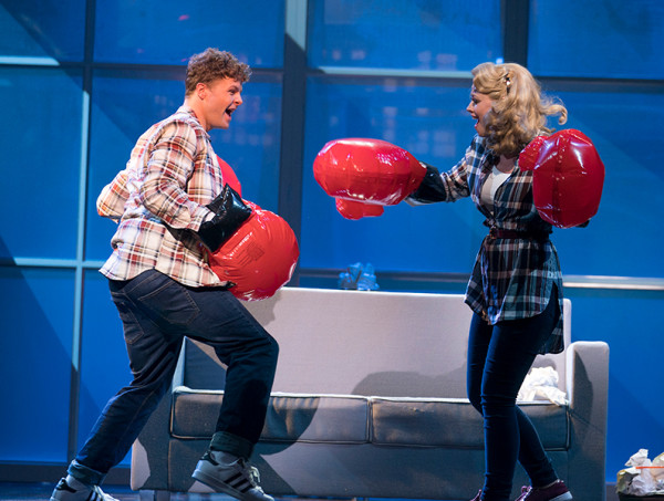 Jay McGuiness as Josh Baskin, Kimberley Walsh as Susan Lawrence. Photo by Alastair Muir