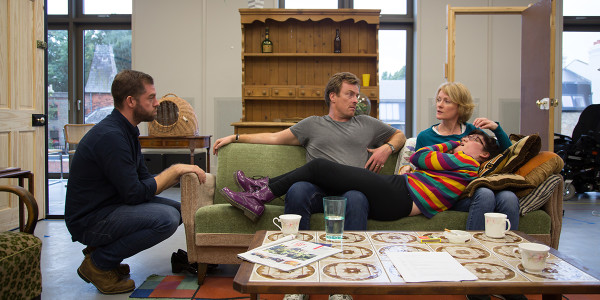 Simon Evans, Toby Stephens, Claire Skinner & Storme Toolis in rehearsals for A Day In The Death of Joe Egg. Photo by Jack Sain