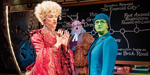 Kim Ismay as Mme Morrible, Simeon Truby as Dr Dillamond and Nikki Bentley as Elphaba. Photo by Matt Crockett