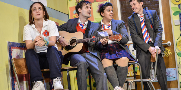 Charlie Russell, Henry Shields, Nancy Zamit & Jonathan Sayer in Groan Ups. Photo by Robert Day.