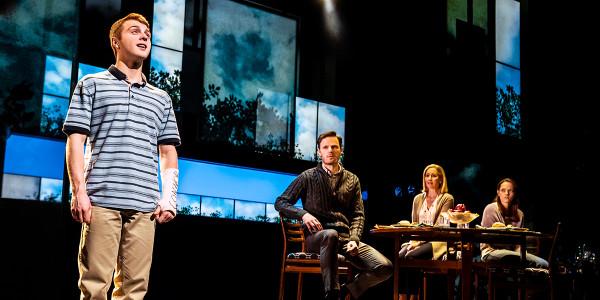 Sam Tutty, Rupert Young, Lauren Ward and Lucy Anderson in Dear Evan Hansen at the Noël Coward Theatre. Photo by Matthew Murphy.