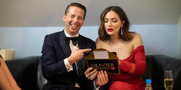 Jack McBrayer and Katharine McPhee at the 2019 Olivier Awards. Photo by David Levene.
