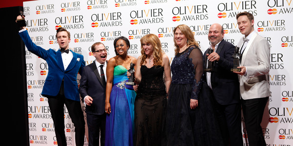 Left to right: Gavin Creel, Jared Gertner, Alexia Khadime, Sonia Friedman, Anne Garefino, Casey Nicholaw, Stephen Ashfield. Photo by: Pamela Raith