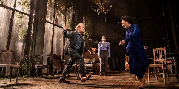 Toby Jones, Aimee Lou Wood and Rosalind Eleazar in Uncle Vanya. Photo by Johan Persson.