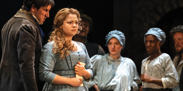 Carrie Hope Fletcher as Fantine and Company in Les Mis. Photo by Michael Le Poer Trench.